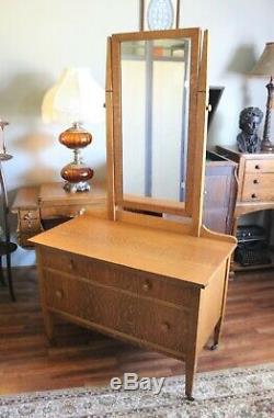 Antique Mission Style Tiger Oak Dresser with Quarter Sawn Top & Tilting Mirror