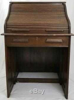 Antique Mission Style Tiger Oak Roll Top Desk Raised Panel Arts & Crafts 1939