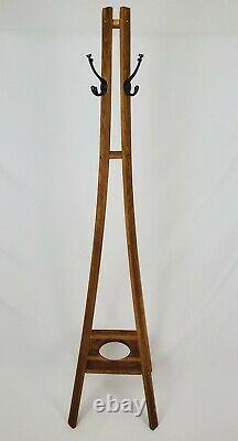 Antique Mission Tiger Oak Coat Floor Rack Arts & Crafts Hat Tree Umbrella Stand