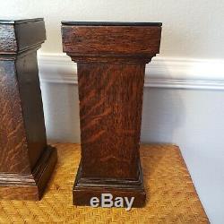 Antique Mission Victorian Tiger Oak Pedestal Plant Display Stand Arts Crafts 15