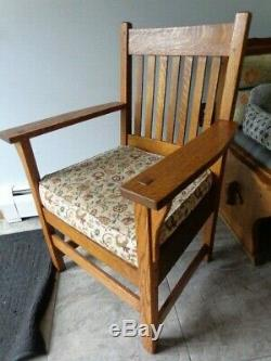 Antique Misson Arts & Crafts Tiger Oak Stickly Chair