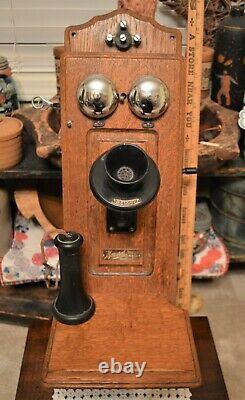 Antique Monarch Tiger Oak Crank Wall Telephone Tongue & Groove Cabinet 1901-1910