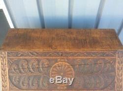 Antique North Wind Tiger Oak Wood Drop Slant Front Desk Carved