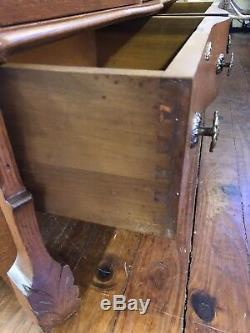 Antique Oak Double Door Bookcase Curio Original Wavy Glass Doors Tiger Oak