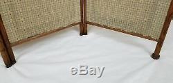 Antique Oak Framed Room Divider Dressing Screen Stick And Ball Victorian Vintage