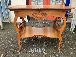 Antique Oak Parlor Table Entry Arts Crafts Carved Ornate Spindles Large Tiger