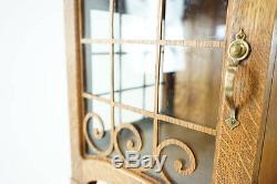 Antique Oak Sideboard, Vintage Credenza, Oak Buffet, Mirrored Sideboard, B786