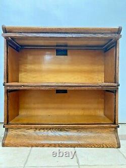Antique Original Macey Barrister Book case Display Cabinet Tiger Oak Geared Door