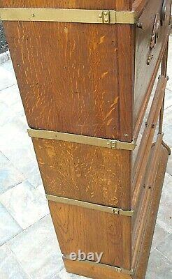 Antique QUARTERSAWN TIGER OAK BARRISTER LAWYER'S STACKING BOOKCASE SECRETARY
