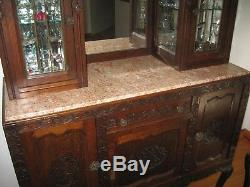 Antique Quarter Sawn Tiger Oak Carved Inlaid Dining Table Chairs China Cabinets