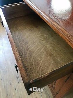 Antique Quarter Sawn Tiger Oak Entry Buffet / Sideboard