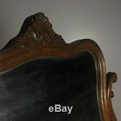 Antique Quarter Sawn Tiger Oak High Boy Gentlemans Dresser Chest with Mirror
