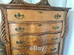 Antique Quarter Sawn Tiger Oak Highboy Tall Dresser with Mirror