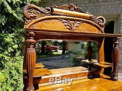 Antique Quarter Sawn Tiger Oak Mirror Back Sideboard Buffet circa 1900