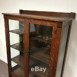 Antique Quarter Sawn Tiger Oak Mission 2 Door Bookcase Cabinet
