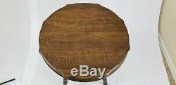 Antique Quarter Sawn Tiger Oak Parlor Table Arts & Crafts Victorian Vintage