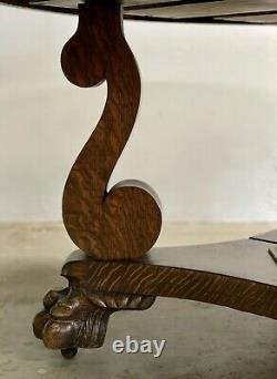 Antique Quarter Sawn Tiger Oak Pedestal Dining Table & Ext Leaves 60 Diameter