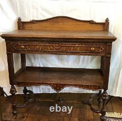 Antique Quarter Sawn Tiger Oak Two Tier Buffet Server With Carved Backsplash