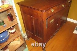 Antique Quarter Sawn Tiger Striped Oak China Buffet Serpentine Top/Drawer #3112