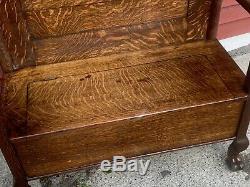 Antique Quartersawn Oak bench Hall Carved Claw Feet solid tiger oak
