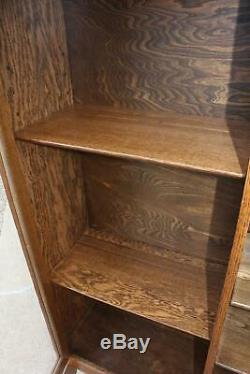 Antique Quartersawn Tiger Oak 3 Door Empire Bookcase Old Display Cabinet + Key