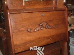 Antique Rare Tiger Oak Larkin Secretary Bookcase Slant Front Desk, 63 X 31 X 12