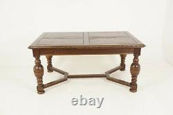 Antique Refectory Table, Tiger Oak, Draw Leaf Table, Dining Table, Scotland 1930