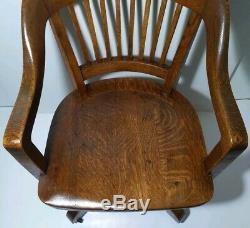 Antique Rolling Banker/Lawyer Office Chair Tiger Oak Wood Gunlocke Style
