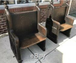 Antique Rustic Hand Carved Tiger Oak Church Pew Gothic UltraRare Unique Set Of 2