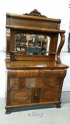 Antique Sideboard Buffet with mirror Tiger Oak Ornate serpentine front Gorgeous