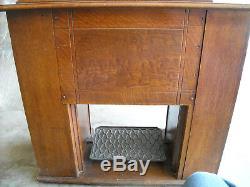 Antique Singer Treadle Sewing Machine Cabinet Tiger Oak-Local Pick up-No Shpg