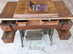 Antique Singer Treadle Sewing Machine Sphinx, Table Cabinet Cast Iron Tiger Oak
