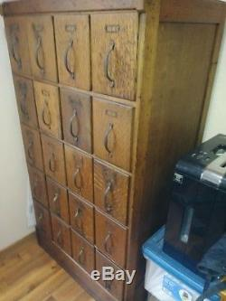 Antique Solid Tiger Oak Apothecary Cabinet File Cabinet Brass Hardware