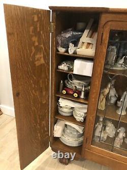 Antique, Solid Tiger Oak Credenza