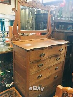Antique Solid Tiger Oak Highboy Dresser Carved Mirror Chest Gentlemans Tall SHIP