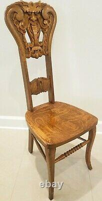 Antique Solid Tiger Oak Northwind Chair Hand Carved Quarter sawn Gothic