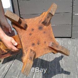 Antique Solid Tiger Oak Pedestal Fern Stand or Plant Stand