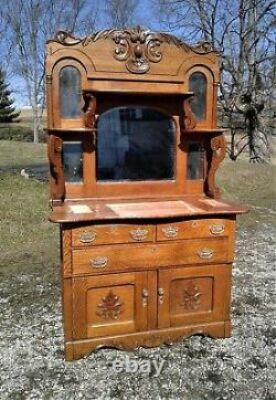 Antique Solid Tiger Oak Server Buffet Sideboard with 5 Mirrors Back Bar 1900s