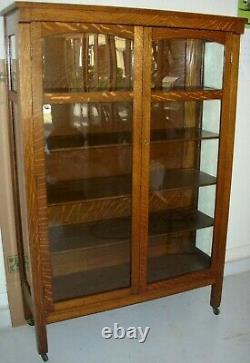 Antique Solid Tiger Quarter Sawn Oak 2 Door China Cabinet Bookcase Arts & Crafts