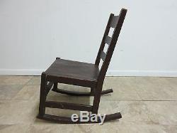Antique Stickley Ladder Back Tiger Oak Rocker Rocking Chair Carpet Cutter