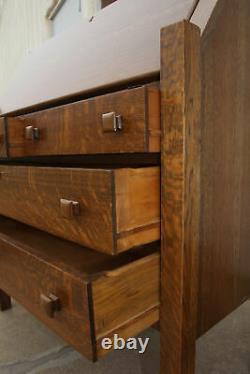 Antique Stickley Style Mission Tiger Oak Arts &Crafts Drop Front Secretary Desk