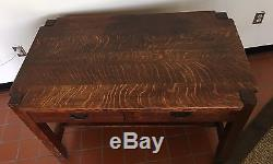 Antique Stickley Tiger Oak 1902 Arts And Crafts Library Table 48W