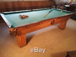 Antique THE MINN Billard Pool Table tiger oak PICK UP DIXON IL RARE