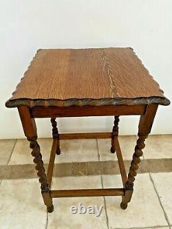 Antique Table Tiger Oak Barley Twist Leg Pub style Scalloped Top Edges