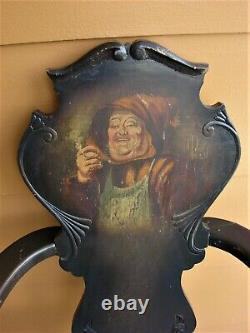 Antique Tiger OAK Fiddle SPOOL Dutch English Smoking Pub Portrait Chair Griffin