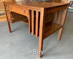 Antique Tiger OAK Wood Arts & Crafts Mission Desk Bourne Hadley & Co