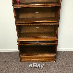 Antique Tiger Oak 5 Section Globe Wernicke Barrister Bookcase