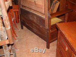Antique Tiger Oak, 7 Ft. Mission Style Carved Oak HALL TREE Stand Coat Hat Rack