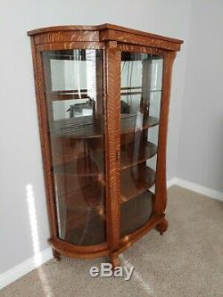 Antique Tiger Oak American China Hutch Display Curio Cabinet Curved Glass Sides