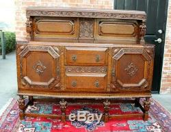 Antique Tiger Oak Art Deco Sideboard Buffet Wine Bar Drink Cabinet Furniture